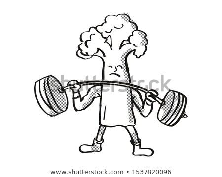 Bloemkool gezonde plantaardige barbell cartoon Stockfoto © patrimonio
