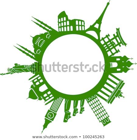 Szett híres körül világ illusztráció épület Stock fotó © vectomart