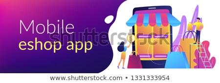 Mobil piactér szalag fejléc pici emberek Stock fotó © RAStudio