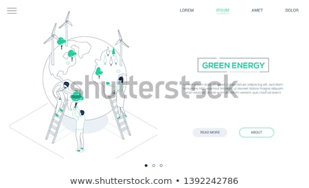 Green energy - line design style isometric web banner Stock photo © Decorwithme