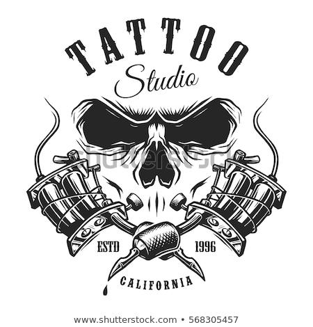 Tattoo studio vector lijn ontwerp stijl Stockfoto © Decorwithme
