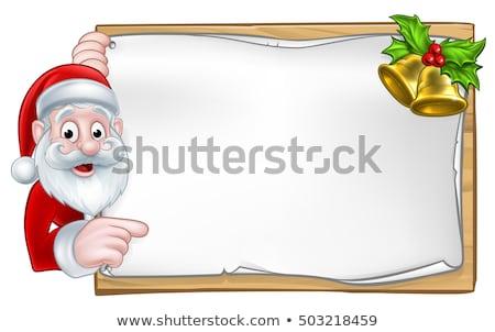 Christmas funny Santa Claus holding gold bell, vector illustration. Stock photo © MarySan