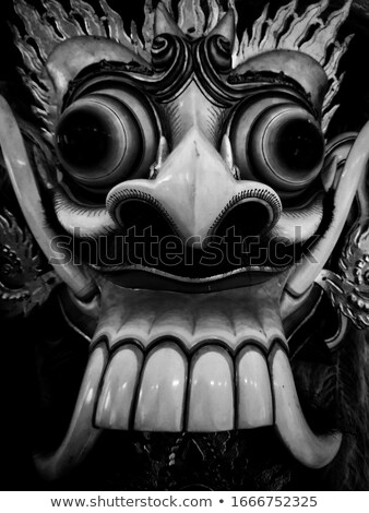 Frontal view of Barong, lion-like creature character in the mythology of Bali, Indonesia Stock photo © galitskaya