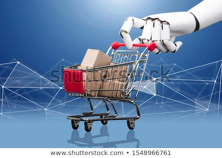 Robotic Hand Holding Shopping Cart Filled With Cargo Boxes Stock photo © AndreyPopov
