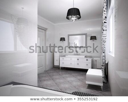 Moderno pálido creme banheiro interior paredes Foto stock © albund