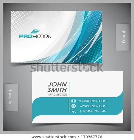 Elegáns kék névjegy sablon terv szett Stock fotó © SArts