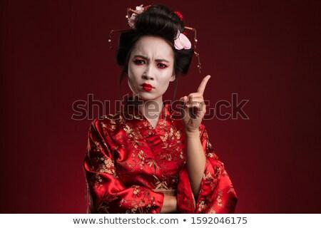 kép · elégedetlen · gésa · nő · japán · kimonó - stock fotó © deandrobot