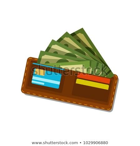 Portemonnee bankbiljetten groene papieren dollar vector Stockfoto © robuart