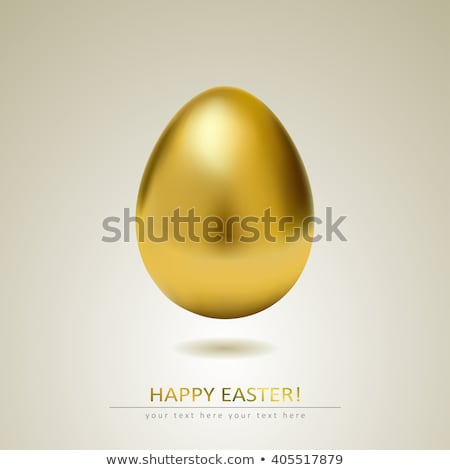 Altın yumurta beyaz tasarım şablonu Paskalya ışık dizayn Stok fotoğraf © olehsvetiukha