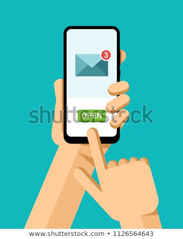 Hand holds the smartphone. Opening the email letters. Flat vector modern phone mock-up illustration Stock photo © karetniy
