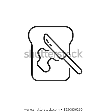 toast with butter icon vector outline illustration Stock photo © pikepicture