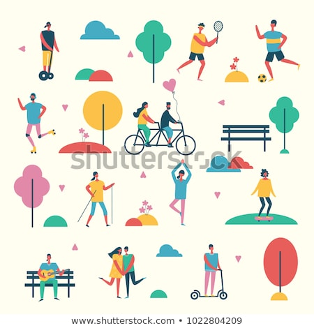 Skateboarder and Roller, People Activity Vector Stock photo © robuart