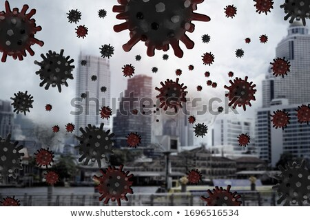 covid 19 coronavirus outbreak design with virus cell in microscopic view on abstract colorful world stock photo © articular