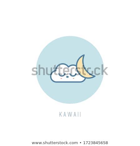 Sleeping cloud emoji outline illustration Stock photo © barsrsind