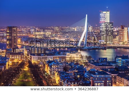 Rotterdam cityscape Pays-Bas pont rivière coucher du soleil Photo stock © dmitry_rukhlenko