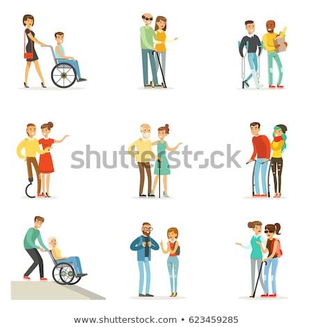 Vrijwilliger man helpen gehandicapten persoon blinde Stockfoto © robuart