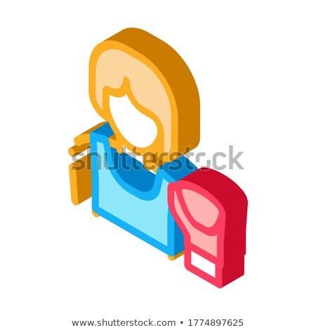 Boksör kadın izometrik ikon vektör imzalamak Stok fotoğraf © pikepicture