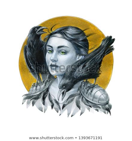 женщину · глазах · птица · красивая · женщина · зеленые · глаза · художественный - Сток-фото © konradbak