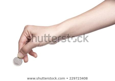 hand · munten · geïsoleerd · witte · geld · achtergrond - stockfoto © borysshevchuk
