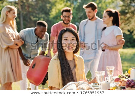 Happy Family Of Four Standind And Looking At You Stock photo © Pressmaster