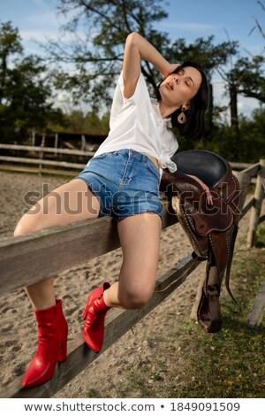 çiftçi · alan · inekler · genç · manzara · yeşil - stok fotoğraf © photography33
