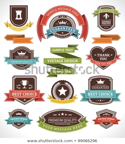 Foto stock: Banner Shields And Ribbons Vector Elements For Design