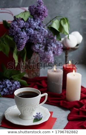 Beyaz fincan çay az kitaplar Stok fotoğraf © dornes