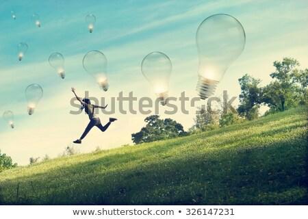 Saltar verde pensamientos resumen persona alegría Foto stock © blamb