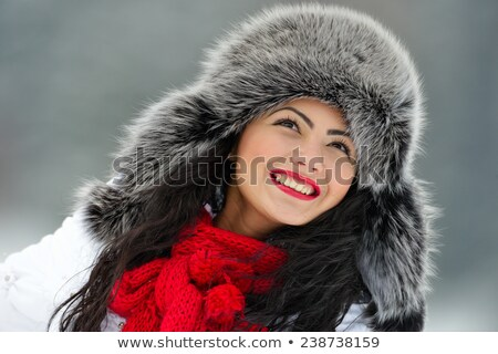 Pretty Young Girl In Fur Hat Stock photo © stryjek