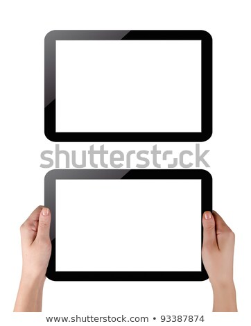 Hands holding touch screen tablet pc with blanc screen Stock photo © fotoscool