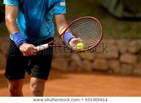 Teniszező ütő férfi tenisz testmozgás fehér Stock fotó © photography33