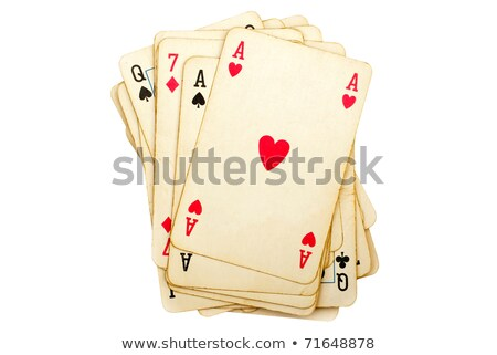 old deck of cards isolated on a white background stock photo © latent