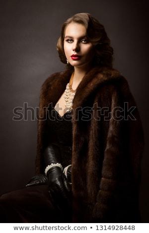 Vrouw pels gezicht gelukkig ontwerp Stockfoto © photography33