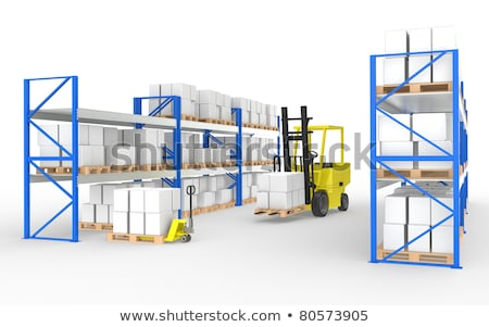 warehouse shelves pallets and a hand truck part of a blue warehouse and logistics series stock photo © johanh