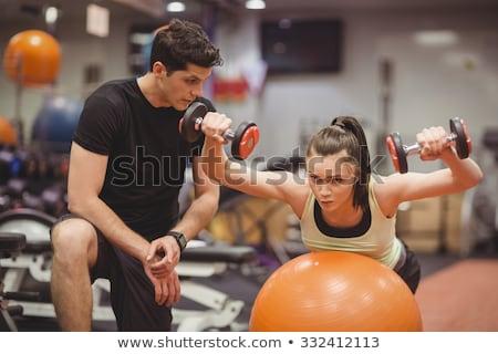 Uygunluk eğitim ağırlıklar top genç Stok fotoğraf © CandyboxPhoto