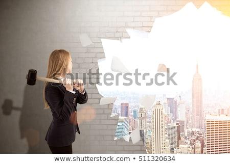 Women destroying a brick wall Stock photo © photography33