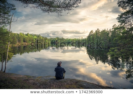 Homem lago paisagem cabelo masculino retratos Foto stock © photography33