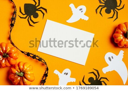 halloween card with pumpkin and monsters stock photo © marinini