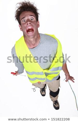Férfi szenvedés elektromos rázkódás fény őrült Stock fotó © photography33