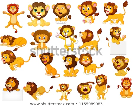Cute Lion and a Blank Sign stock photo © pcanzo