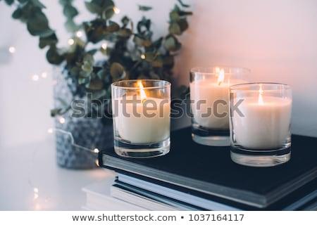 gyertya · dekoráció · közelkép · asztal · virág · buli - stock fotó © oneinamillion