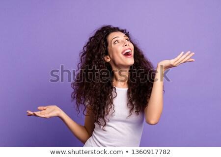 Fiatal gyönyörű nő üres hely mindkettő kezek gesztenyebarna Stock fotó © rosipro