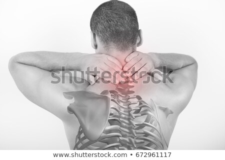 Foto stock: Rear View Of Shirtless Man With Neck Pain