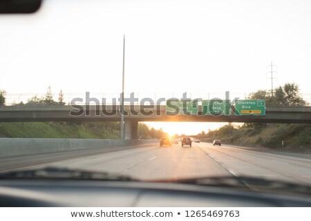Сток-фото: Freeway · знак · 2010 · зеленый · номера · стрелка