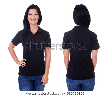 Young brunette woman with blank black polo shirt Stock photo © sumners
