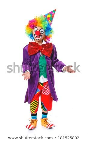 weinig · clown · schreeuwen · geïsoleerd · grijs · gezicht - stockfoto © chesterf