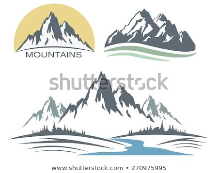 szett · zöld · hegyek · fa · fa · logók - stock fotó © Glenofobiya