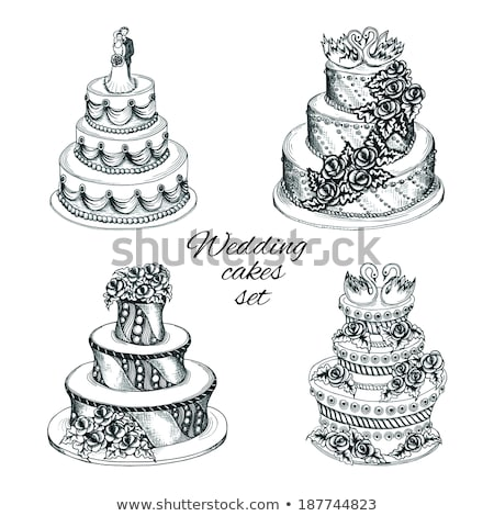 wedding cakes with couples vector set stock photo © beaubelle