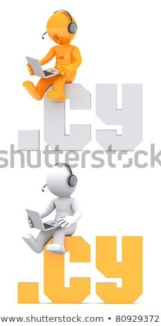 3D charakter posiedzenia domena podpisania odizolowany Zdjęcia stock © Kirill_M