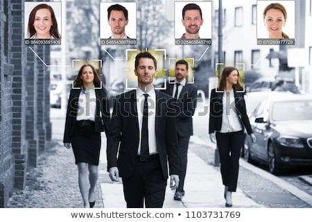férfi · arc · elismerés · számítógép · szem · biztonság - stock fotó © stevanovicigor